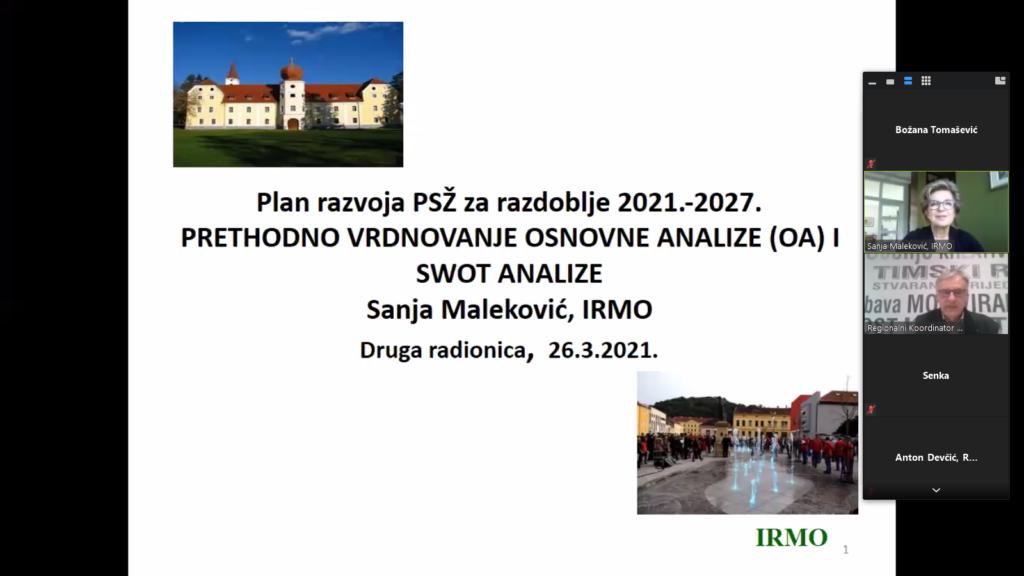 Druga online radionica Radnih timova za izradu Plana razvoja Požeško-slavonske županije