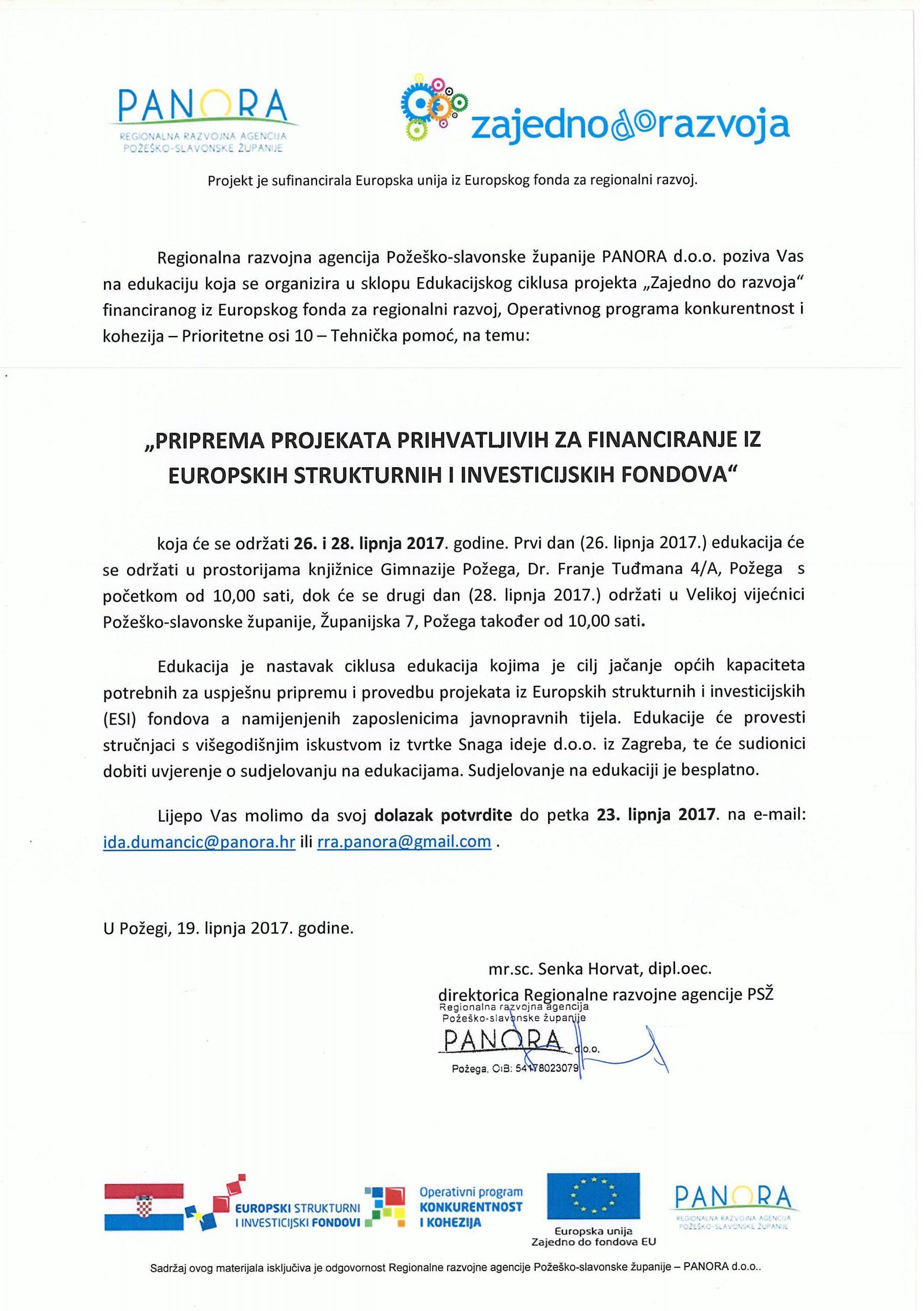 """Poziv na edukaciju """"Priprema projekata prihvatljivih za financiranje iz Europskih strukturnih i investicijskih fondova"""""""